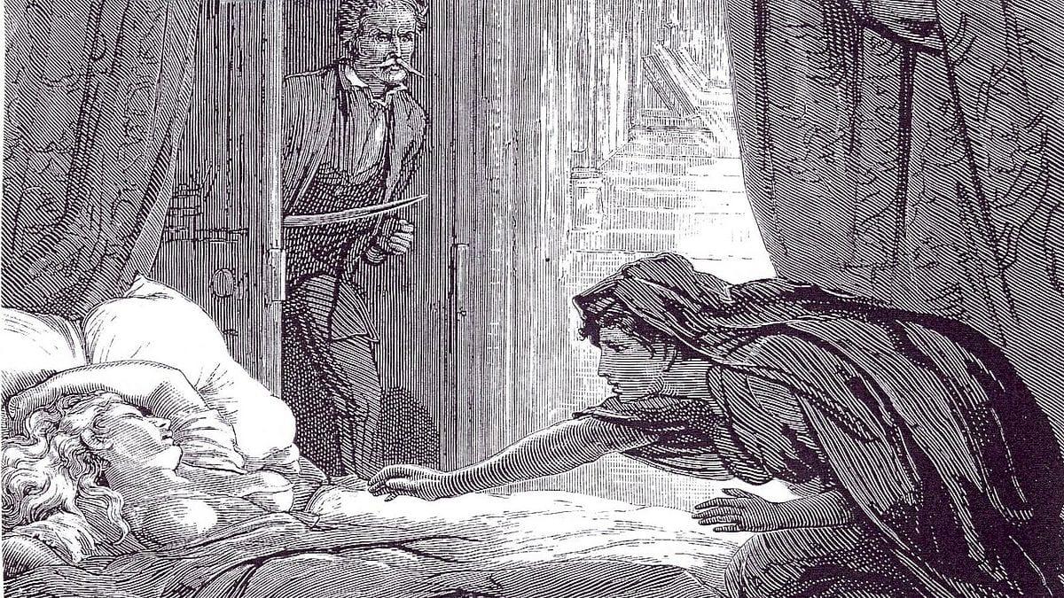 The vampire Carmilla preys on a sleeping Laura in the novella, Carmilla.