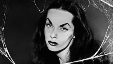 Close-up of Maila Nurmi as Vampira, face framed by cobwebs.
