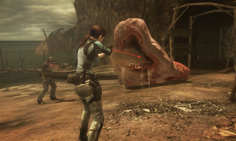 Parker and Jill, dressed in military gear, aim their firearms at a giant blob with teeth