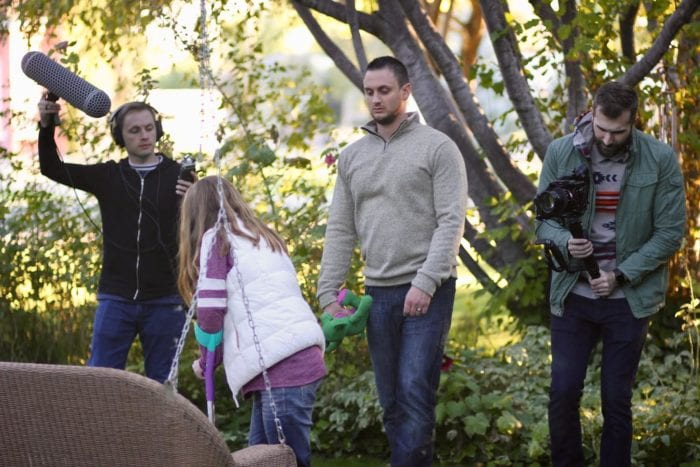Emily, James, Mike, and a friend shooting a scene