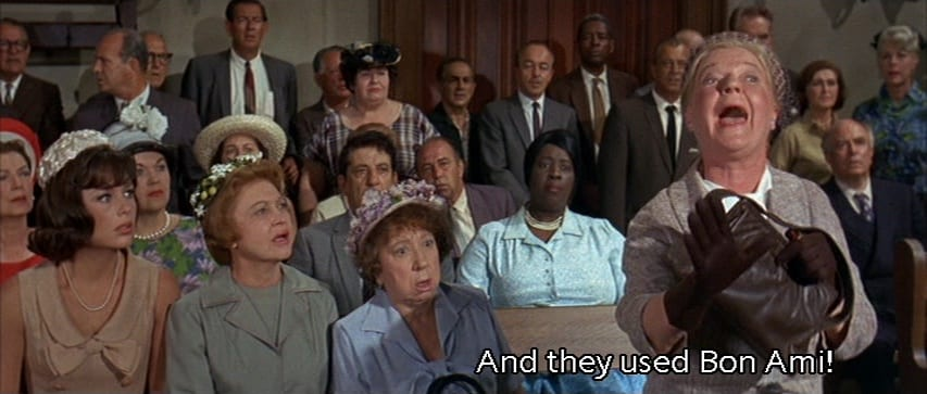 "Mrs. Cobb (Nydia Westman) yells, ""And they used Bon Ami!"" in the court room, in the film, ""The Ghost and Mr. Chicken"" (1966)."