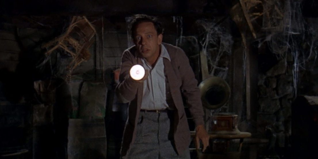 """Luther Heggs (Don Knotts) shines a flashlight in an old, cobweb-filled room, in the film, """"The Ghost and Mr. Chicken"""" (1966)."""