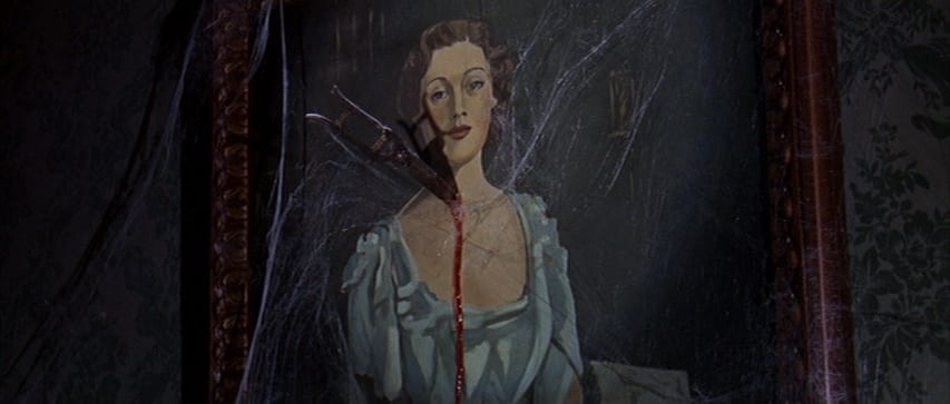 "Gardening shears pierce a cobweb-covered painting of Mrs. Simmons. The place the shears pierce is dripping blood. From the film, ""The Ghost and Mr. Chicken"" (1966)."
