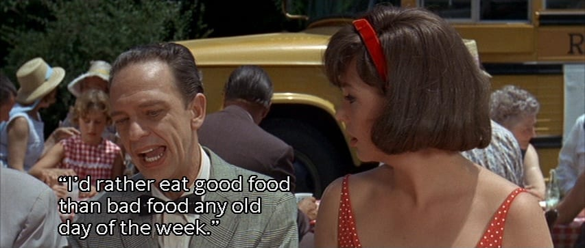 "Luther Heggs (Don Knotts) quotes a saying to Alma Parker (Joan Staley), ""I'd rather eat good food than bad food any old day of the week,"" in the film, ""The Ghost and Mr. Chicken"" (1966)."