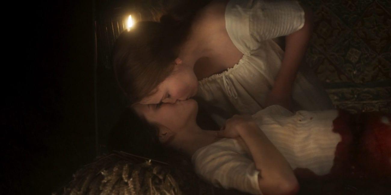 Carmilla kisses a bloody Laura.