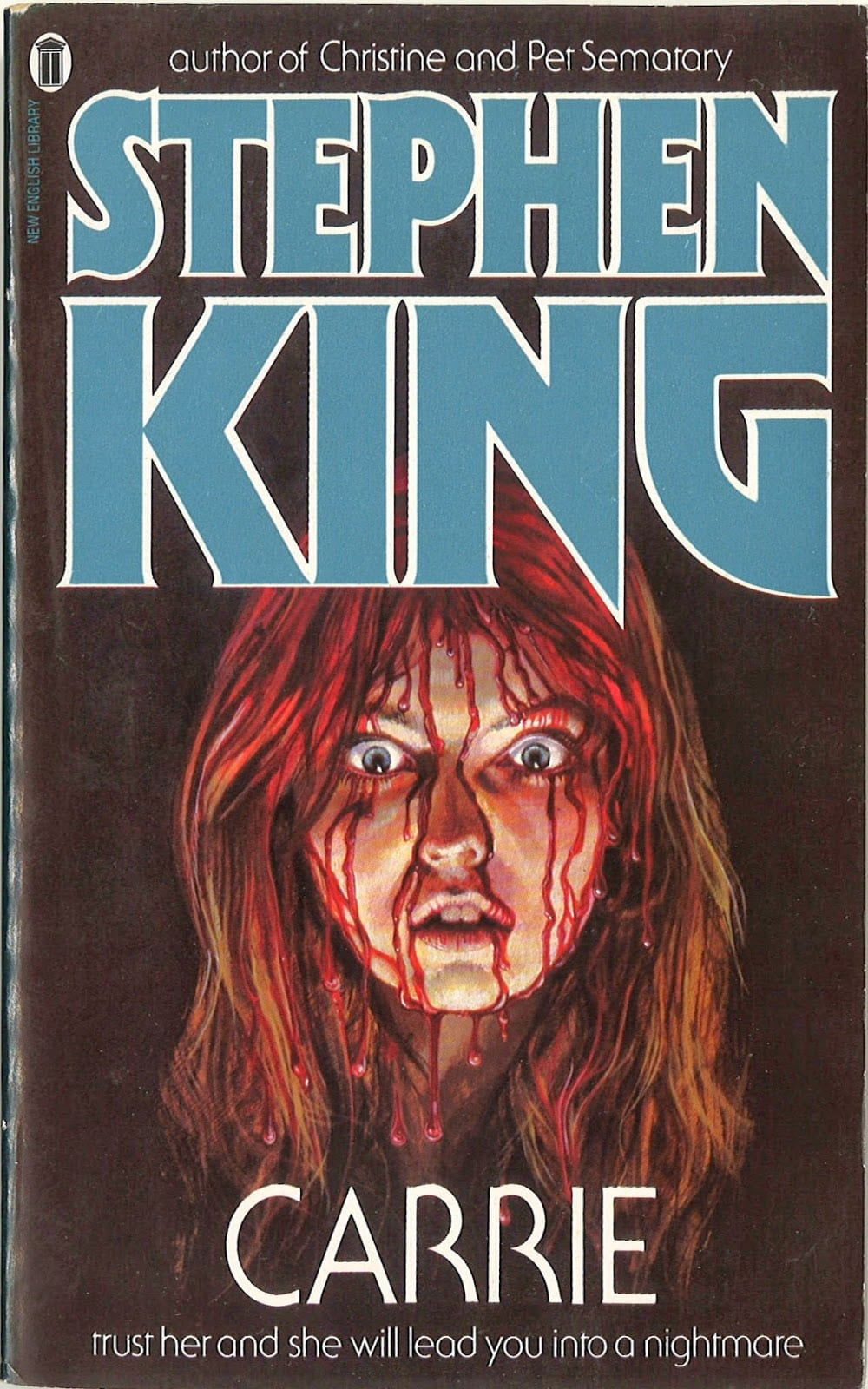 Stephen King's Carrie book cover.