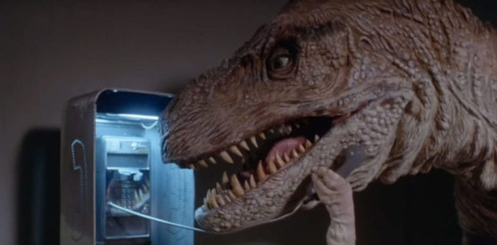 The T-Rex using a payphone