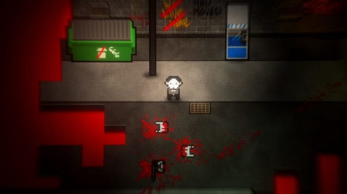 Erica stares at several corpses, torn apart with only the lower halves remaining. The game is in a pixelated retro style.