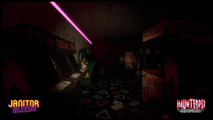A dimly lit dilapidated arcade