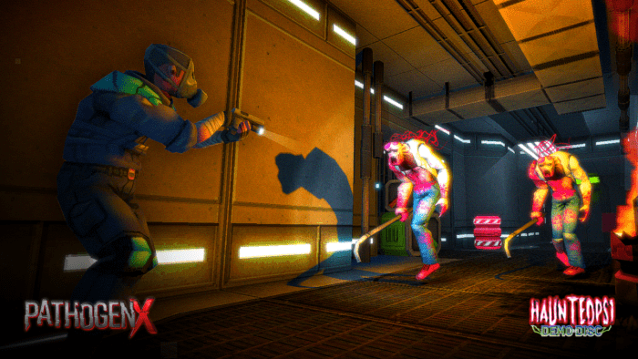 A person in a gas mask and body armor shoots at approaching zombie-like enemies