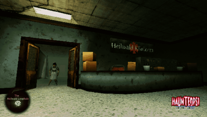a dimly lit medical clinic. A nurse stands menacingly in a doorway