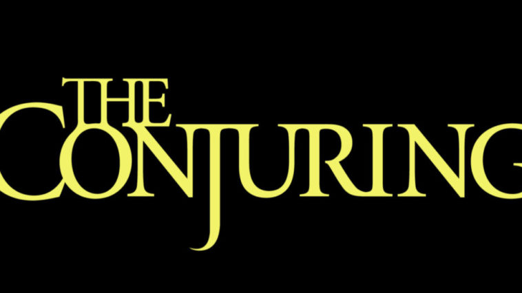 The Conjuring Universe Title. Yellow Letters and Black background