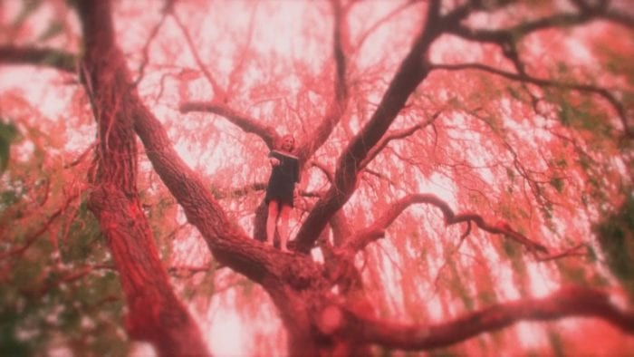 A woman stands in a tree pointing at the camera through a red lens.