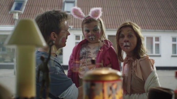 Tobias, Elin, and their daughter in an early scene of Koko-di Koko-da