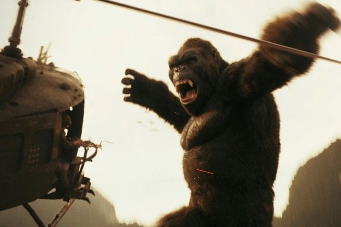 Kong about to smash a helicopter