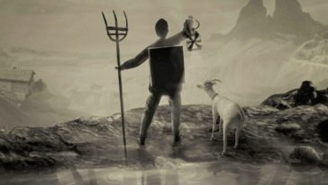 Curdin stands on the edge of a cliff holding a pitchfork and lantern. Next to him stands a goat.