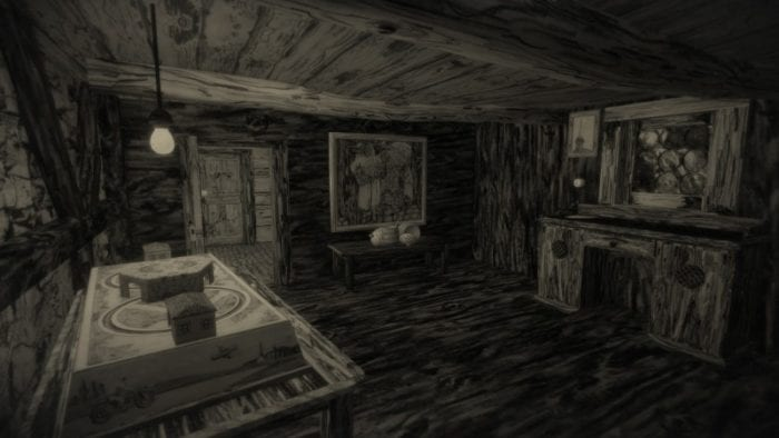 The interior of a small cabin featuring a table with a game board, desk and a painting on one wall.
