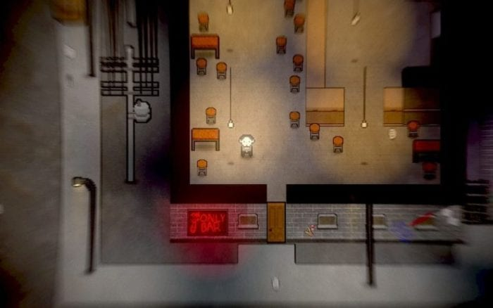 Erica stands inside a bar. The screen is zoomed out to show the surround street