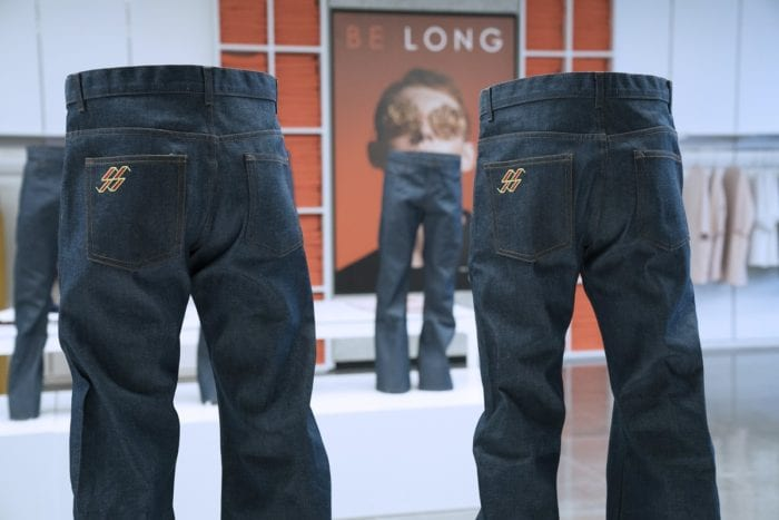 The jeans stand still on display, seemingly waiting to attack their latest victims.