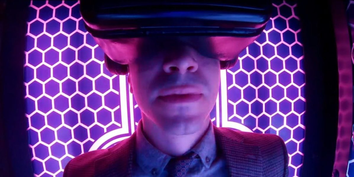 """Simon (Justin Long) sits inside his invention, the Immersopod, for a virtual reality experience, from the TV show, """"Creepshow."""""""