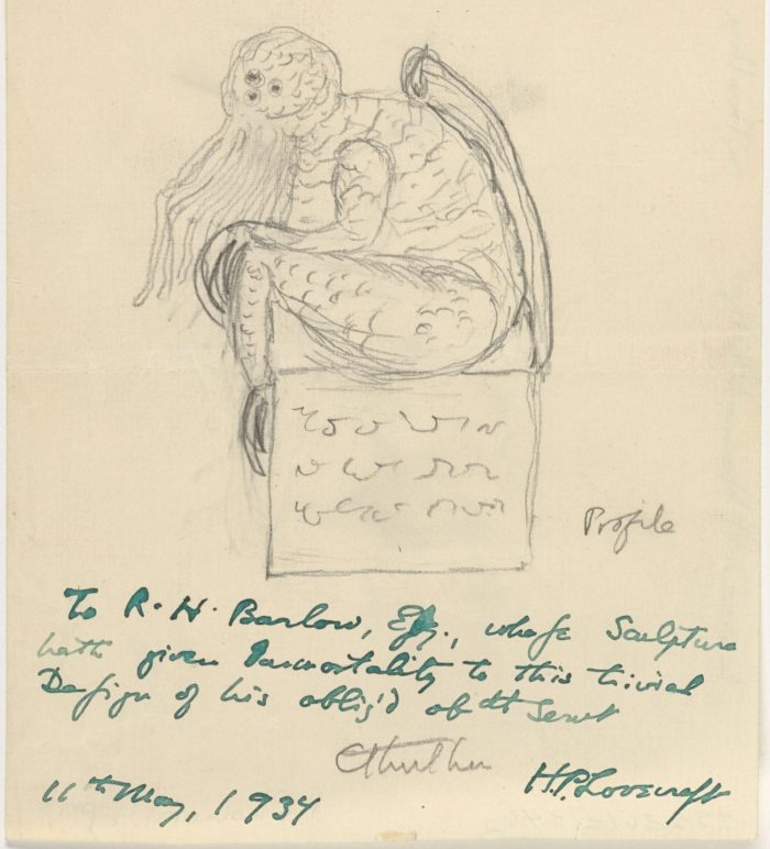 A sketch of Cthulhu drawn by H.P. Lovecraft