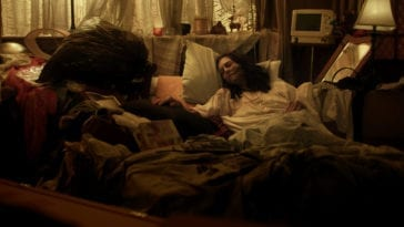 "Anni Finsterer as Grace, facing death with the help of her ""death midwife"""