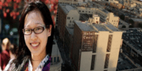 In this photo is a collage. The picture on the left is of Elisa Lam with her glasses smiling. In the picture on the right it is a far off shot of the Cecil Hotel