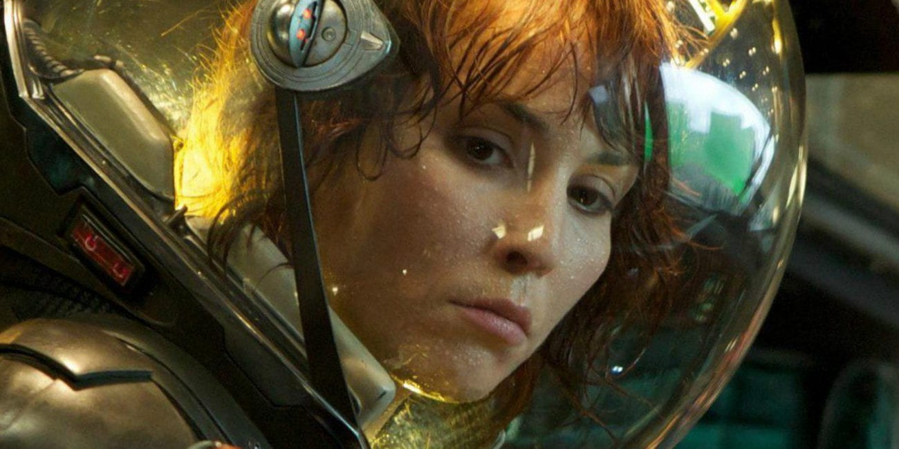 Dr. Elizabeth Shaw in a spacesuit in the film, Prometheus.