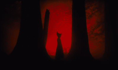 An ominous Witch surrounded by red light
