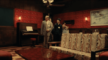 From left to right: wide shot of Hilbert, Pascal, Galois, and Oliva entering Fermat's room
