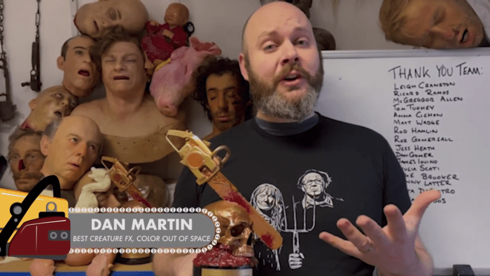 Dan Martin accepts award for Best Creature FX at Chainsaw Awards