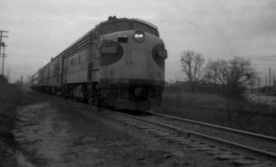 Black and white photo of the locomotive engine of a train called the Carolina Special from the 1960s