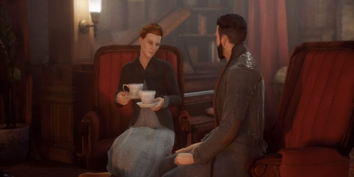 Lady Ashbury prepares a cup of tea for her guest, Dr. Jonathan Reid.