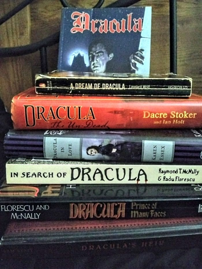 A pile of various books on Dracula.