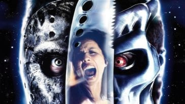 The poster for Jason X, showing Jason Voorhees, the film's female lead and Über Jason.