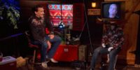 Joe Bob on set talking with Jeffrey Combs on a TV