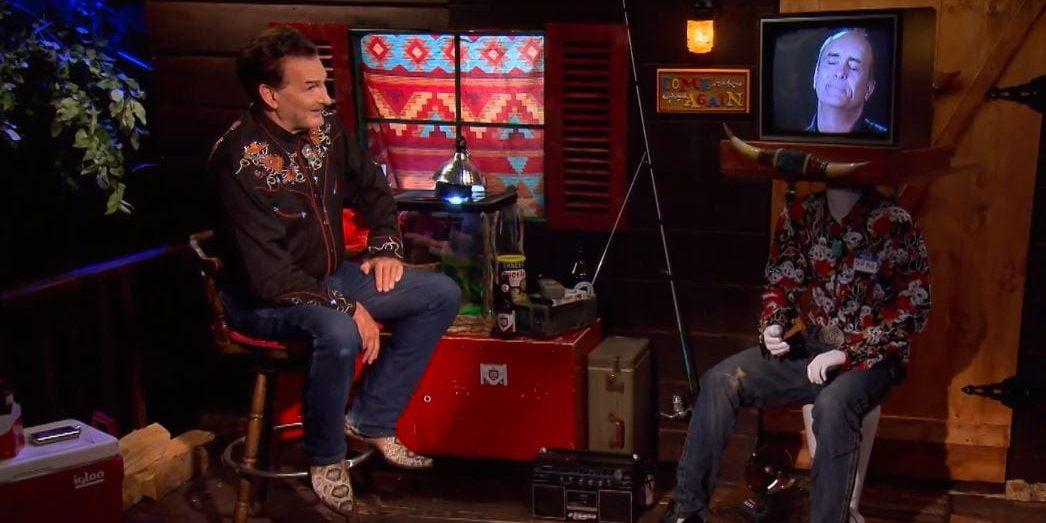 Joe Bob on set talking with Jeffrey Combs on a TV