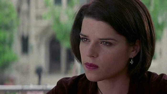 Sidney from Scream, a young women with short brown hair.