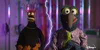 """Pepé the King Prawn looks up in awe at spontaneous lightning while standing next to Gonzo the Great, who's announcing the premiere of, """"Muppets Haunted Mansion"""" on Disney+."""