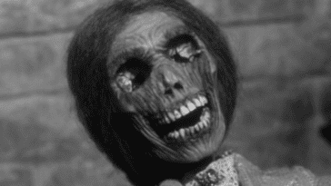 Close up of a woman's desiccated corpse face.