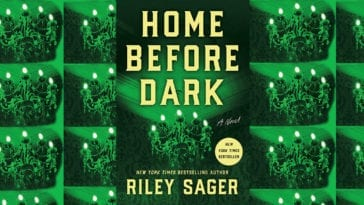 Home before dark book cover with picture of chandelier cast in green light.