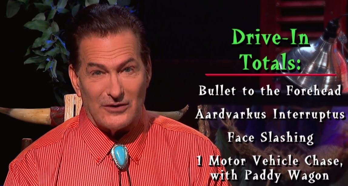 Joe Bob listing the Drive-In Totals for Maniac Cop
