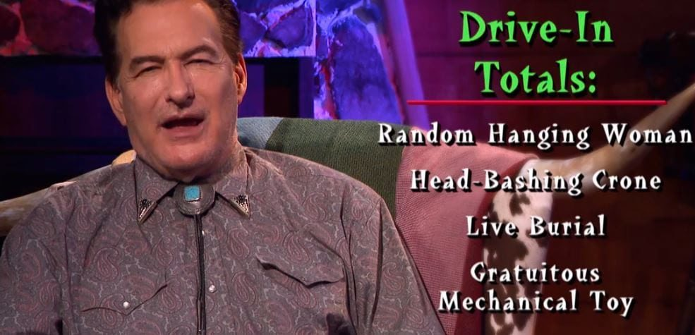Joe Bob listing the Drive-In Totals for Spookies