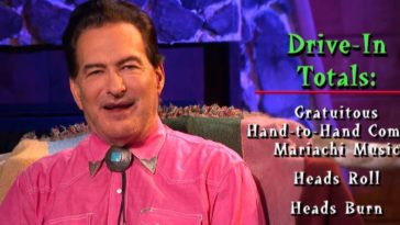 Joe Bob listing the drive-in totals for Mandy