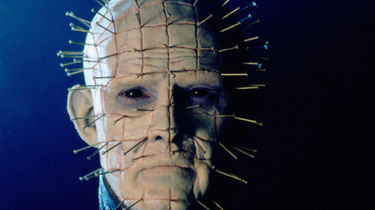 closeup of the iconic Pinhead character's scarred head covered in pins