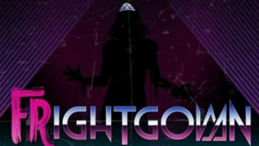 a shadowy figure wears a tiara through a triangular pattern of purple lines. the word FRIGHTGOWN is displayed