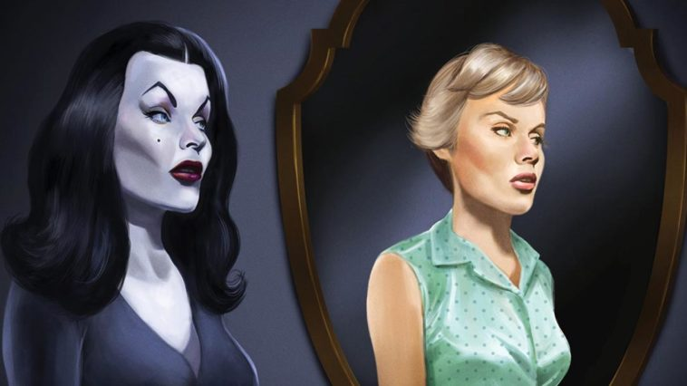 Illustration of of Vampira with Maila Nurmi with no makeup reflected in the mirror.