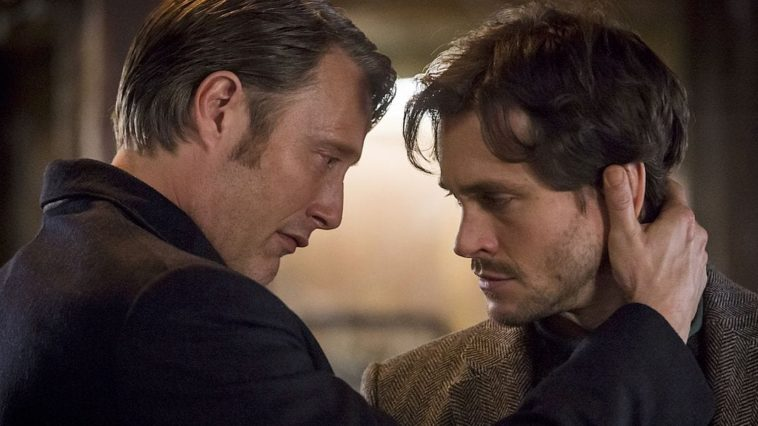 Hannibal and Will in an embrace.