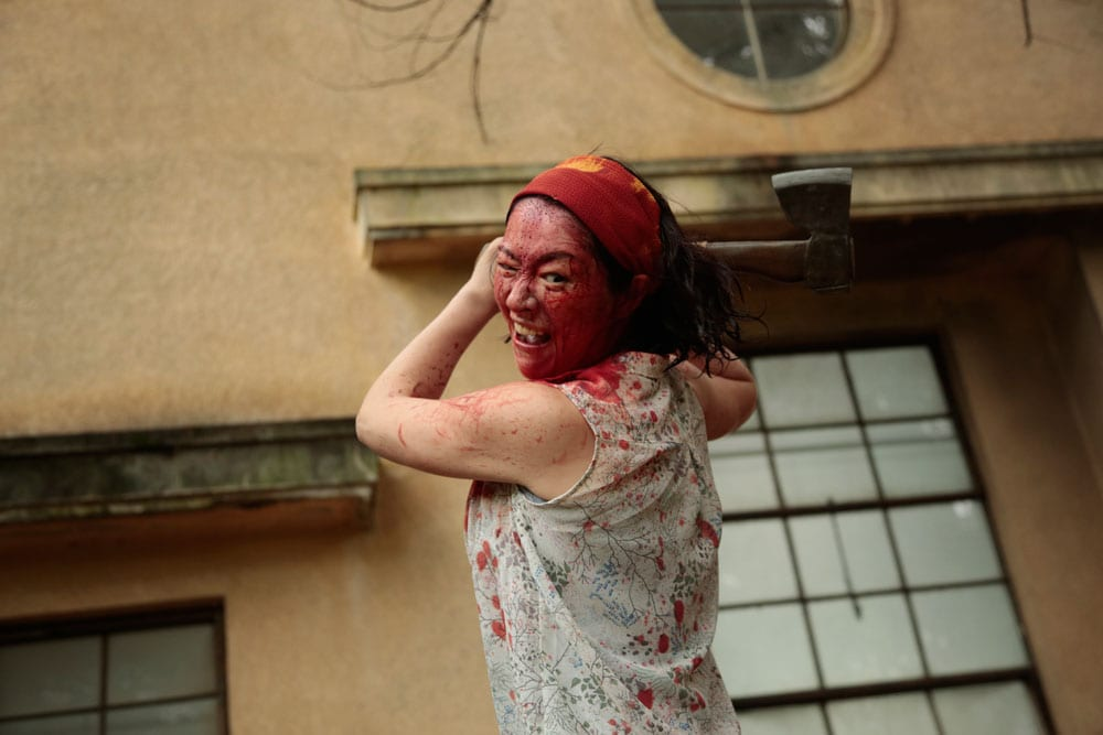 Harumi Syuhama as Nao getting carried away in One Cut of the Dead