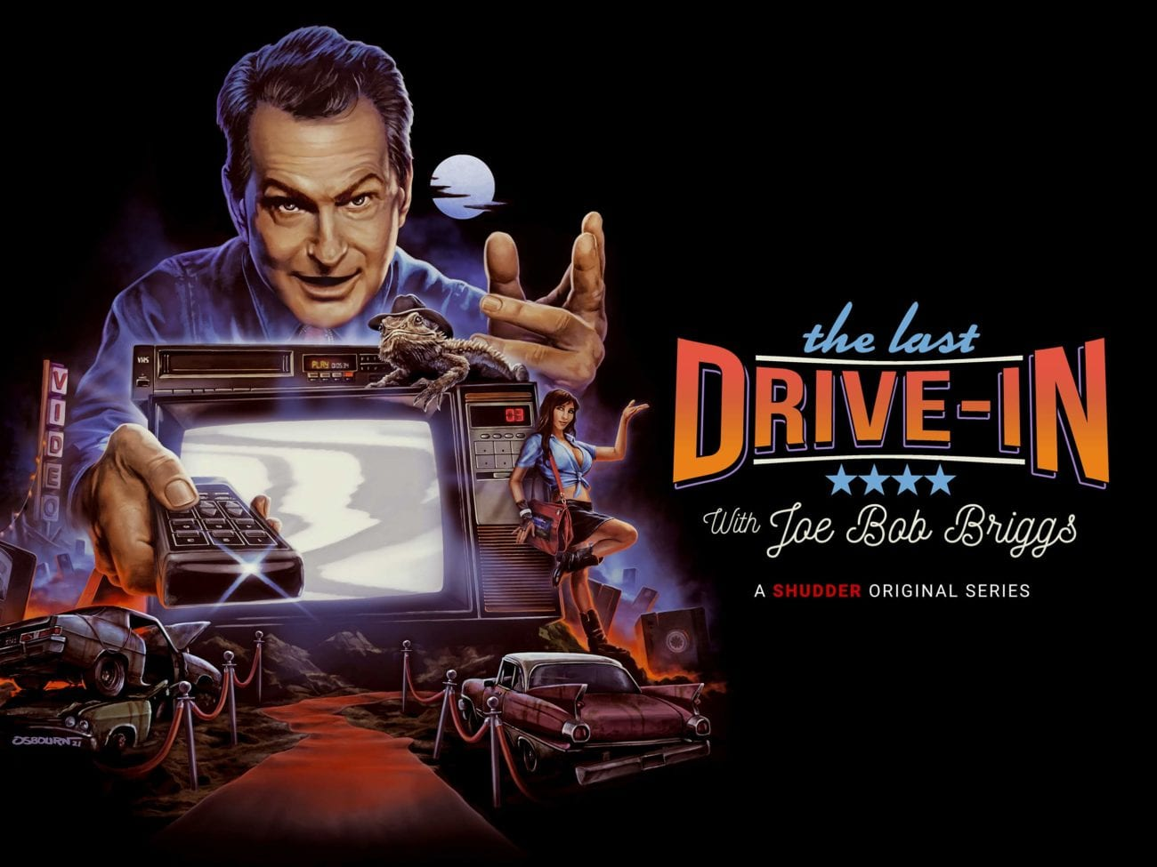 Cartoon image of Joe Bob holding a remote above a drive-in screen